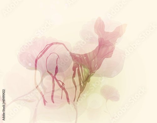 Doe in the flower meadow / Silhouette of wild animal