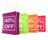Forty Percent Off Shopping Bags Shows 40 Reduction