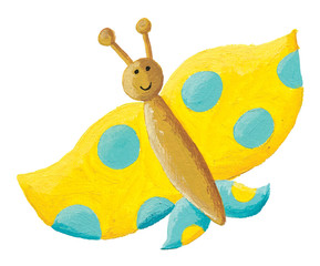 Cute yellow butterfly with blue dots