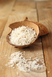 Homemade coconut shavings in coconut shell
