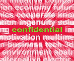 Confidential Word Shows Private Or Secret Document