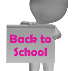 Back To School Sign Shows Beginning Of Term
