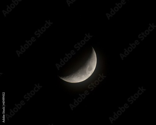 Waxing Crescent Moon in Mist