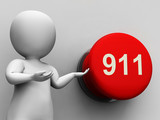 911 Button Shows Emergency Number And Services