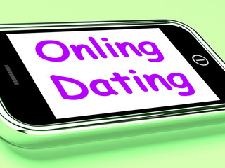 Online Dating  On Phone Shows Romancing And Web Love