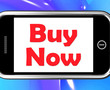 Buy Now On Phone Shows Purchasing And Online Shopping