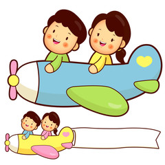 Couple flying a plane. Home and Family Character Design Series.