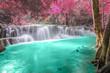 Leinwanddruck Bild - Deep forest Waterfall in Kanchanaburi