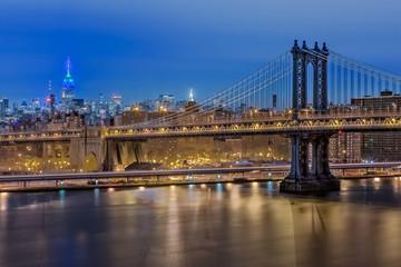 Empire State Building and Manhattan Bridge, New York City