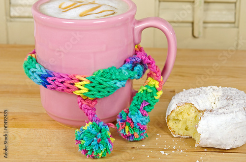 pink coffee cup with scarf