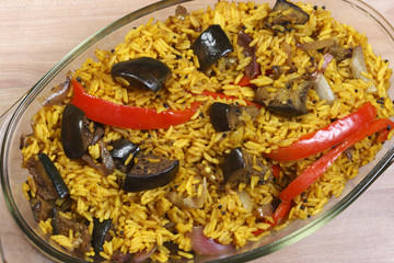 Eggplant Biryani – An Indian food made of rice and eggplant