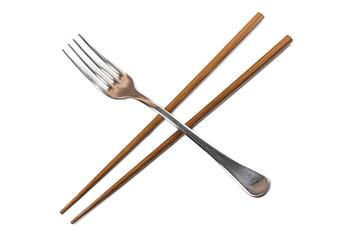 Chopsticks and fork