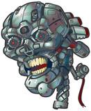 Robot Skull Vector Clip Art