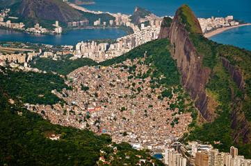Rocinha Slum on the Mountain in Rio and city behind