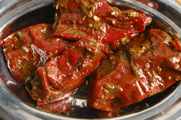 Stuffed Red Chilli Pickle is from North India's Uttar Pradesh