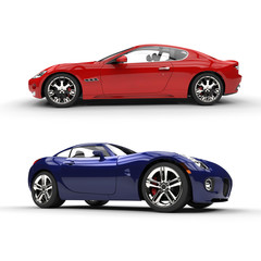 Red And Blue Supercars Profile Shot