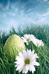 Easter egg on in grass with bright spring sky