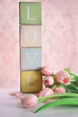 Colored blocks with tulips with vintage look