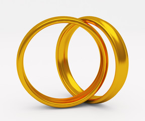 Gold wedding ring on white background