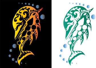 set of two tribal dolphin tattoos
