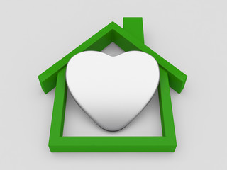 House symbol and heart on white background