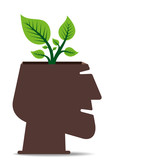 small plant grown in human head concept vector