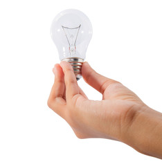A teenage girl hand holding a light bulb over white background