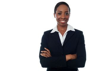 Female executive posing confidently