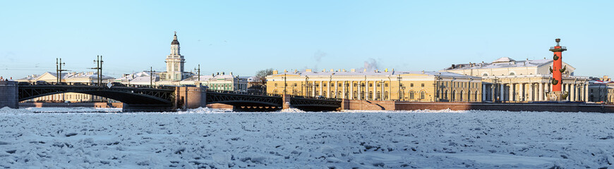 panorama of the arrow Vasilyevsky island and palace bridge early