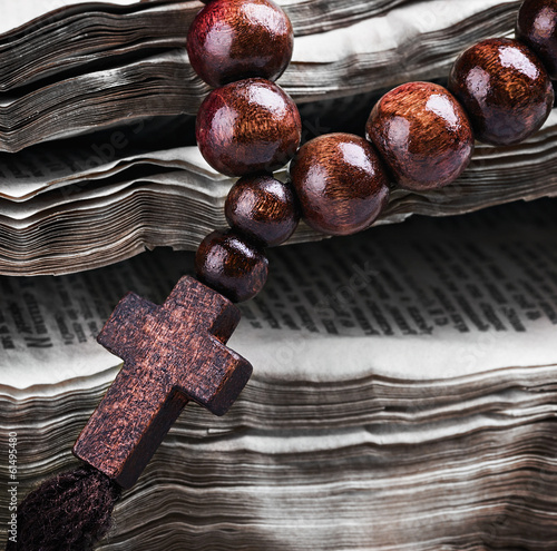 rosary with a wooden cross