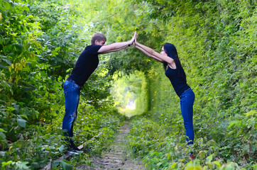 Enamoured pair on the railway