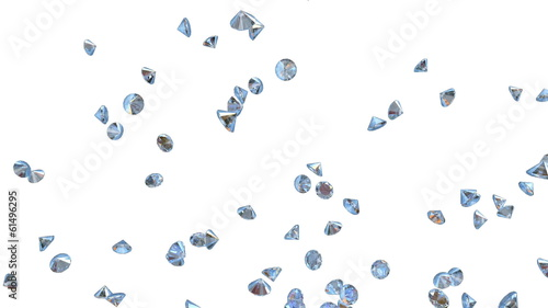 Diamonds Flying Particles against white