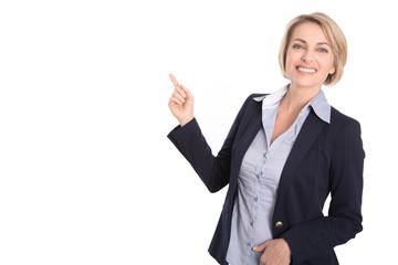 Senior Business Frau isoliert zeigt mit dem Zeigefinger