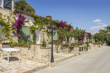 Typical Provencal alley, Embiez Island, south of France