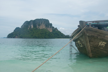 beautiful beach and boat in andaman sea,Krabi Province Thailand