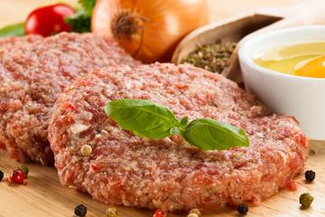 Raw minced pork chops meat