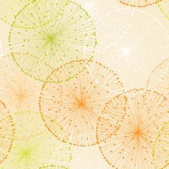 Orange Seamless Pattern with Dandelions
