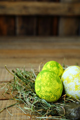 Easter eggs in rustic