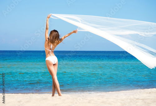 A beautiful woman in a swimsuit posing on the beach