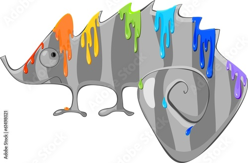Gray Chameleon and rainbow color