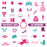 Wedding Party Set - Photobooth Props - glasses, hats, mustaches