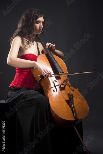 Young Woman Playing Violoncello