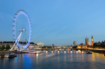 London City Of Westminster And Thames River At The Dusk
