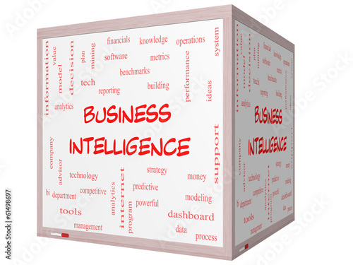 Business Intelligence Word Cloud Concept on a 3D cube Whiteboard
