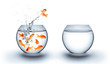 canvas print picture - goldfish jumping out of the water - improvement concept - white