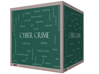 Cyber Crime Word Cloud Concept on a 3D cube Blackboard