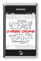 Cyber Crime Word Cloud Concept on Touchscreen Phone