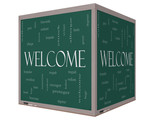 Welcome Foreign Language Word Cloud on 3D cube Blackboard