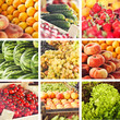 collage of fresh season fruits on market