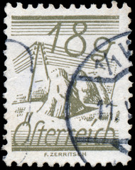 AUSTRIA - CIRCA 1925: A stamp printed in Austria, is depicted Fi